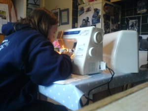 Me, using a sewing machine!