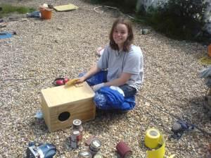 The cajon box drum in progress