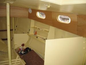 varnished side panels in situ