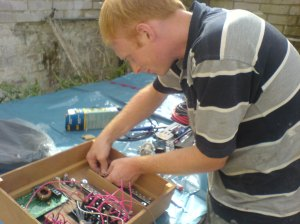 Chris wiring things up for the control panel