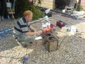 Chris taming the parafin burner